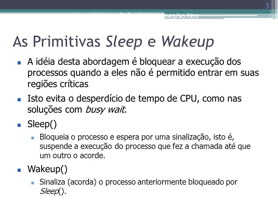 http://www.inf.ufes.br/~rgomes/so.htm As Primitivas Sleep e Wakeup 3 A idéia desta abordagem é bloquear a execução dos processos quando a eles não é p