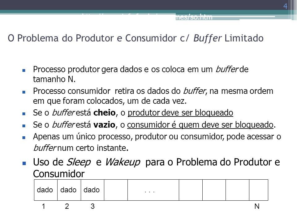 http://www.inf.ufes.br/~rgomes/so.htm O Problema do Produtor e Consumidor c/ Buffer Limitado 4 Processo produtor gera dados e os coloca em um buffer d