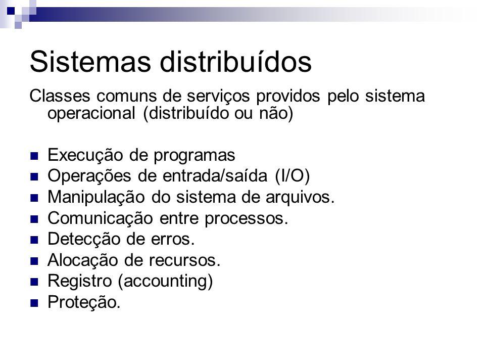 Sistemas distribuídos Classes comuns de serviços providos pelo sistema operacional (distribuído ou não) Execução de programas Operações de entrada/saí