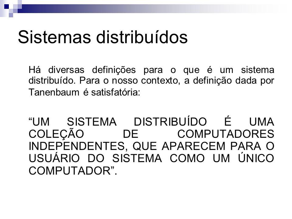 Sistemas distribuídos Exemplo de sistema distribuído: Exemplo de sistema distribuído Cluster é um conjunto de máquinas (no caso de cluster Linux, especificamente, PC s) interligadas via rede que trabalham em conjunto trocando informações entre si.