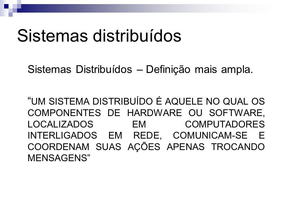 Sistemas distribuídos Sistemas Distribuídos – Definição mais ampla. UM SISTEMA DISTRIBUÍDO É AQUELE NO QUAL OS COMPONENTES DE HARDWARE OU SOFTWARE, LO