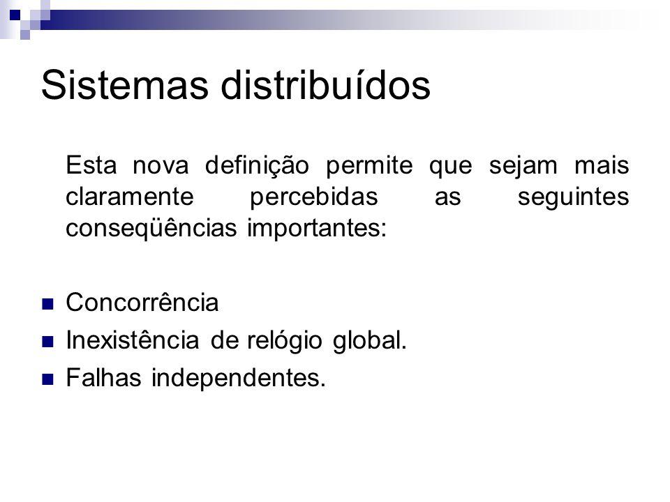 Sistemas distribuídos Esta nova definição permite que sejam mais claramente percebidas as seguintes conseqüências importantes: Concorrência Inexistênc