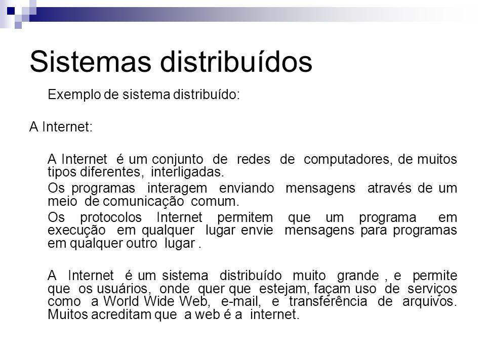 Sistemas distribuídos Exemplo de sistema distribuído: A Internet: A Internet é um conjunto de redes de computadores, de muitos tipos diferentes, inter