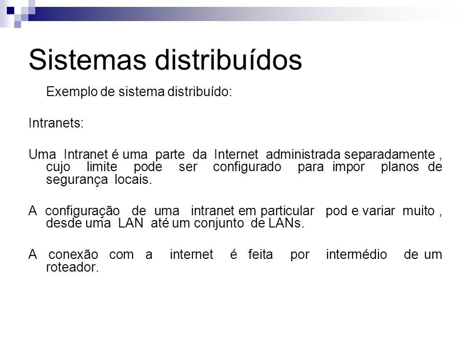 Sistemas distribuídos Exemplo de sistema distribuído: Intranets: Uma Intranet é uma parte da Internet administrada separadamente, cujo limite pode ser