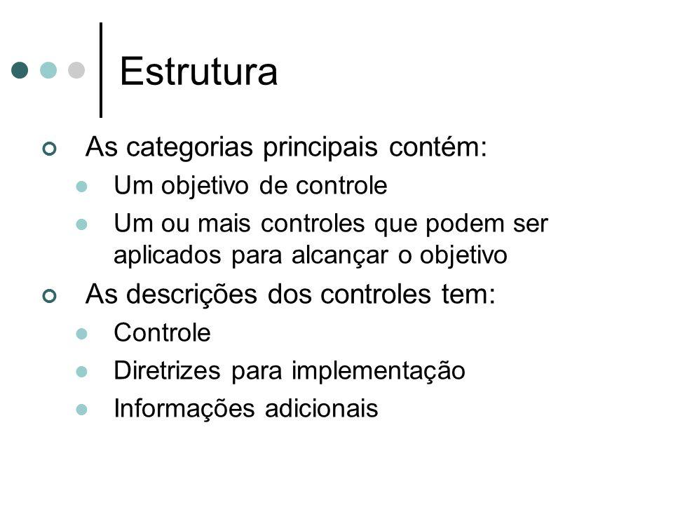 Estrutura As categorias principais contém: Um objetivo de controle Um ou mais controles que podem ser aplicados para alcançar o objetivo As descrições dos controles tem: Controle Diretrizes para implementação Informações adicionais