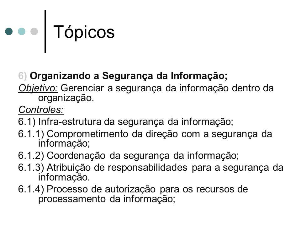 Tópicos 6) Organizando a Segurança da Informação; Objetivo: Gerenciar a segurança da informação dentro da organização.