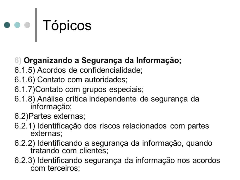 Tópicos 6) Organizando a Segurança da Informação; 6.1.5) Acordos de confidencialidade; 6.1.6) Contato com autoridades; 6.1.7)Contato com grupos especiais; 6.1.8) Análise crítica independente de segurança da informação; 6.2)Partes externas; 6.2.1) Identificação dos riscos relacionados com partes externas; 6.2.2) Identificando a segurança da informação, quando tratando com clientes; 6.2.3) Identificando segurança da informação nos acordos com terceiros;