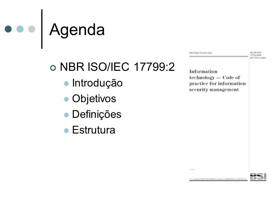 Agenda NBR ISO/IEC 17799:2005 Introdução Objetivos Definições Estrutura