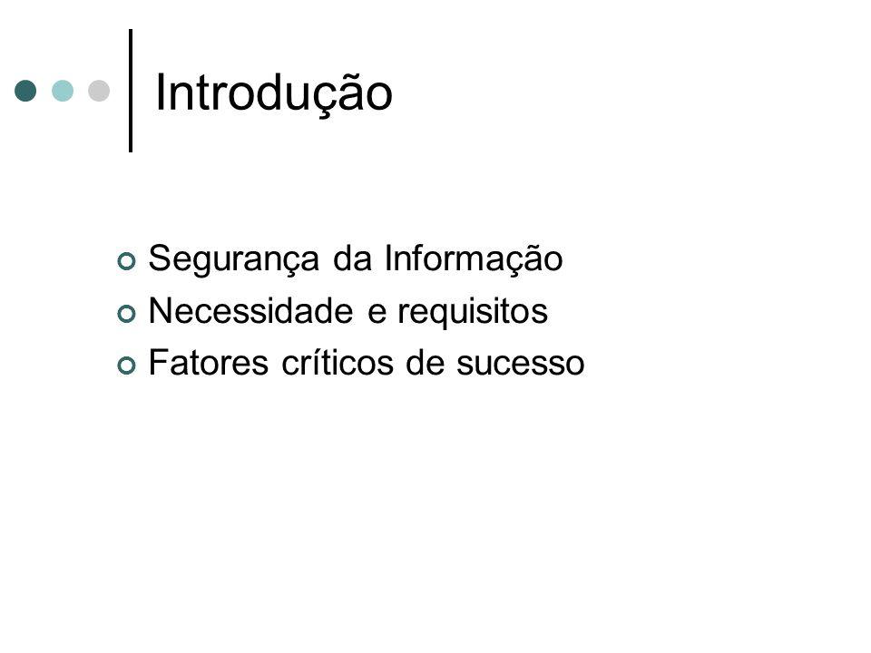 Introdução Segurança da Informação Necessidade e requisitos Fatores críticos de sucesso