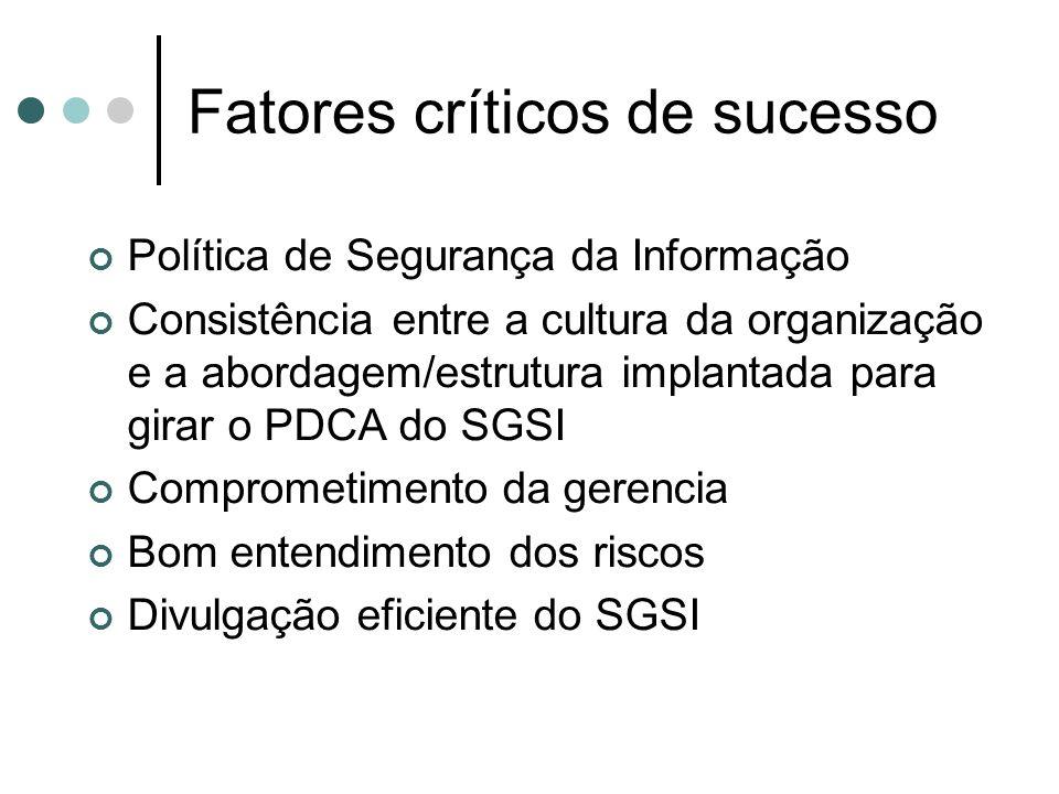 Fatores críticos de sucesso Política de Segurança da Informação Consistência entre a cultura da organização e a abordagem/estrutura implantada para girar o PDCA do SGSI Comprometimento da gerencia Bom entendimento dos riscos Divulgação eficiente do SGSI