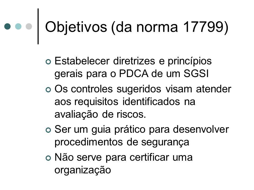 Objetivos (da norma 17799) Estabelecer diretrizes e princípios gerais para o PDCA de um SGSI Os controles sugeridos visam atender aos requisitos identificados na avaliação de riscos.