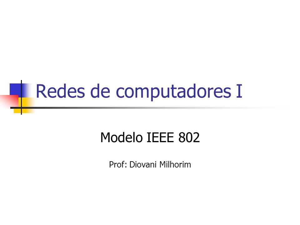 Modelo IEEE 802 O Comitê 802 do IEEE, Institute of Electrical and Electronics Engineers dos Estados Unidos, desenvolveu e publicou uma série de normas para redes locais (LANs) e Metropolitanas (MANs) que foram adotadas mundialmente inclusive pela ISO (International Organization for Standardization).