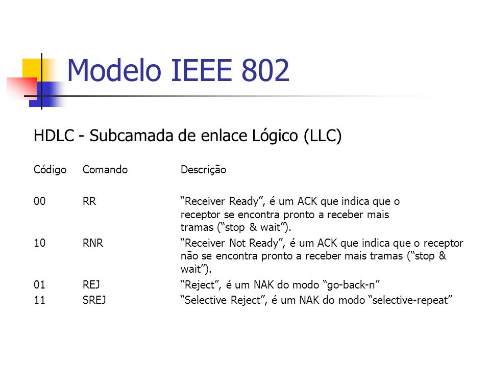 Modelo IEEE 802 HDLC - Subcamada de enlace Lógico (LLC) Código ComandoDescrição 00RR Receiver Ready, é um ACK que indica que o receptor se encontra pr