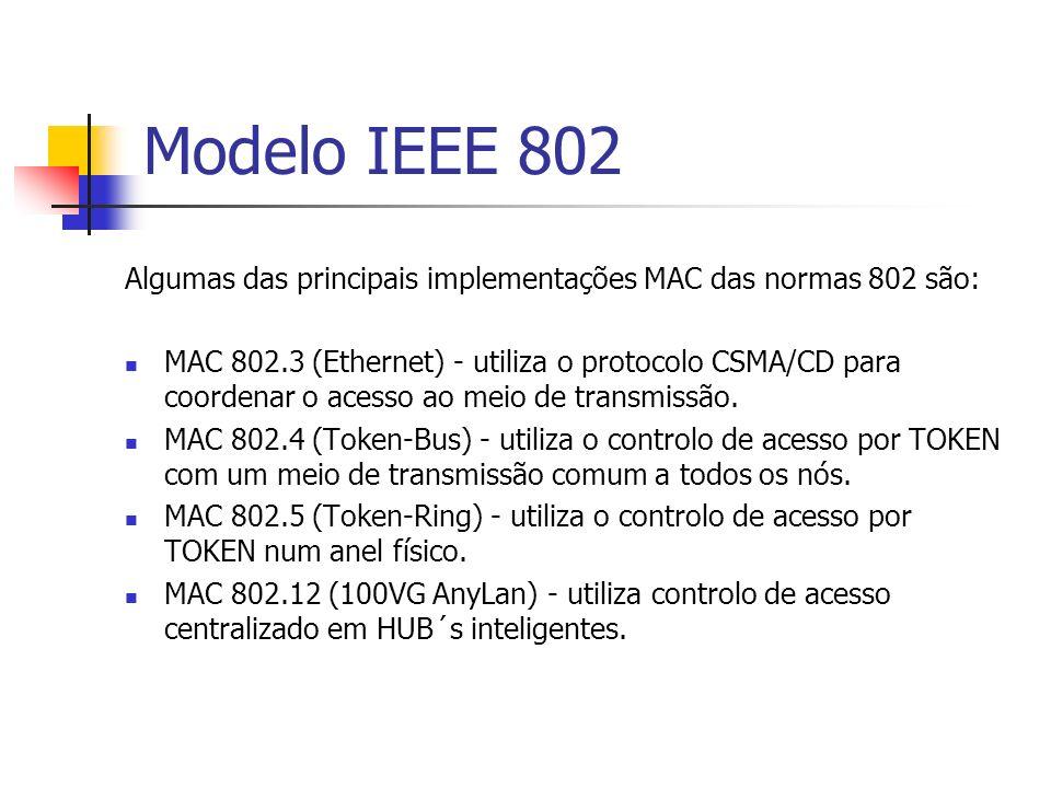 Modelo IEEE 802 Algumas das principais implementações MAC das normas 802 são: MAC 802.3 (Ethernet) - utiliza o protocolo CSMA/CD para coordenar o aces