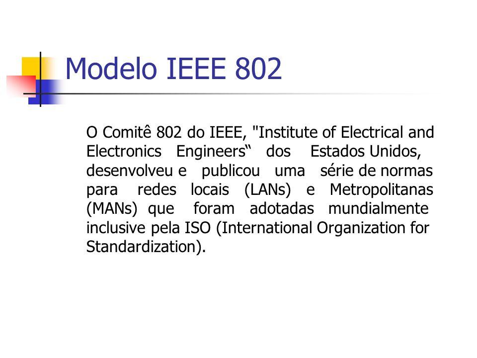 Modelo IEEE 802 Os protocolos IEEE 802 correspondem à camada física e à camada Enlace de dados do modelo ISO/OSI, largamente adotado na interconexão de sistemas abertos, porém dividem a camada de enlace em duas subcamadas