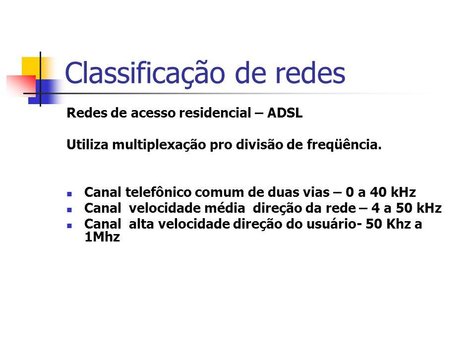 Classificação de redes Redes de acesso residencial – ADSL Utiliza multiplexação pro divisão de freqüência.