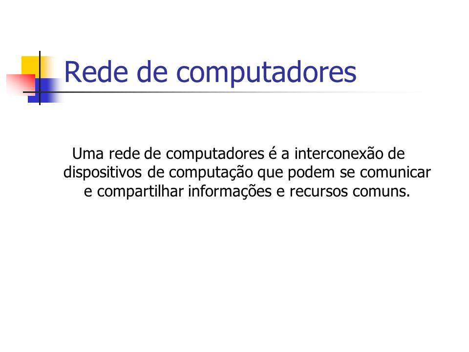Rede de computadores Uma rede de computadores é a interconexão de dispositivos de computação que podem se comunicar e compartilhar informações e recursos comuns.