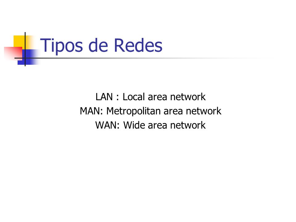 Tipos de Redes LAN : Local area network MAN: Metropolitan area network WAN: Wide area network