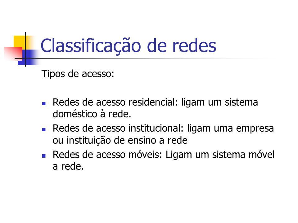 Classificação de redes Tipos de acesso: Redes de acesso residencial: ligam um sistema doméstico à rede.