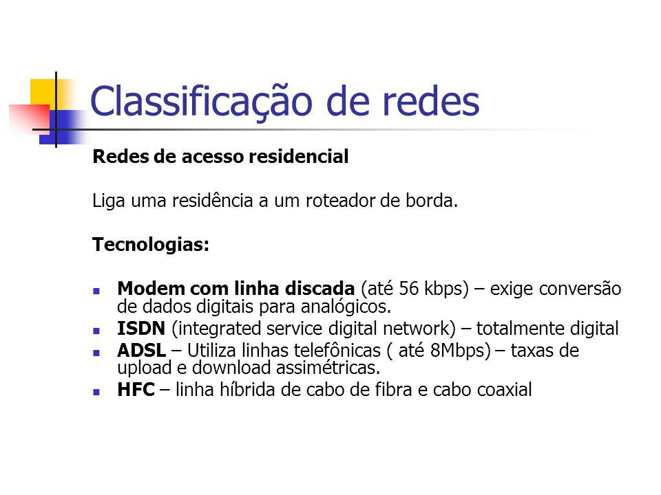 Classificação de redes Redes de acesso residencial Liga uma residência a um roteador de borda.