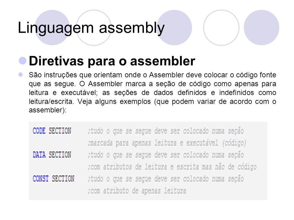 Linguagem assembly Diretivas para o assembler São instruções que orientam onde o Assembler deve colocar o código fonte que as segue.