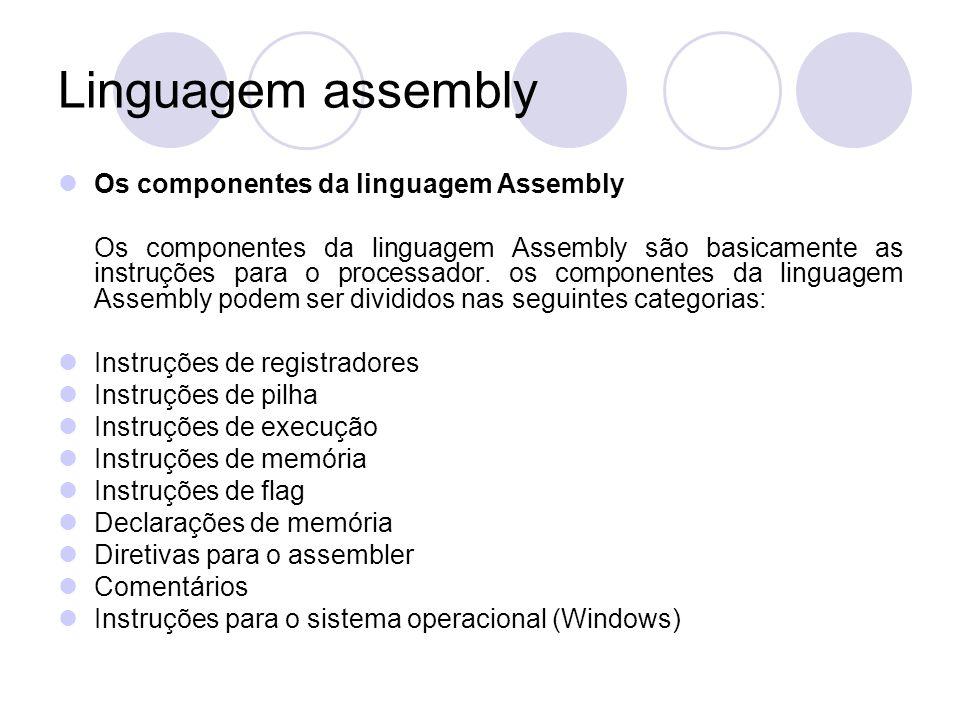 Linguagem assembly Os componentes da linguagem Assembly Os componentes da linguagem Assembly são basicamente as instruções para o processador.