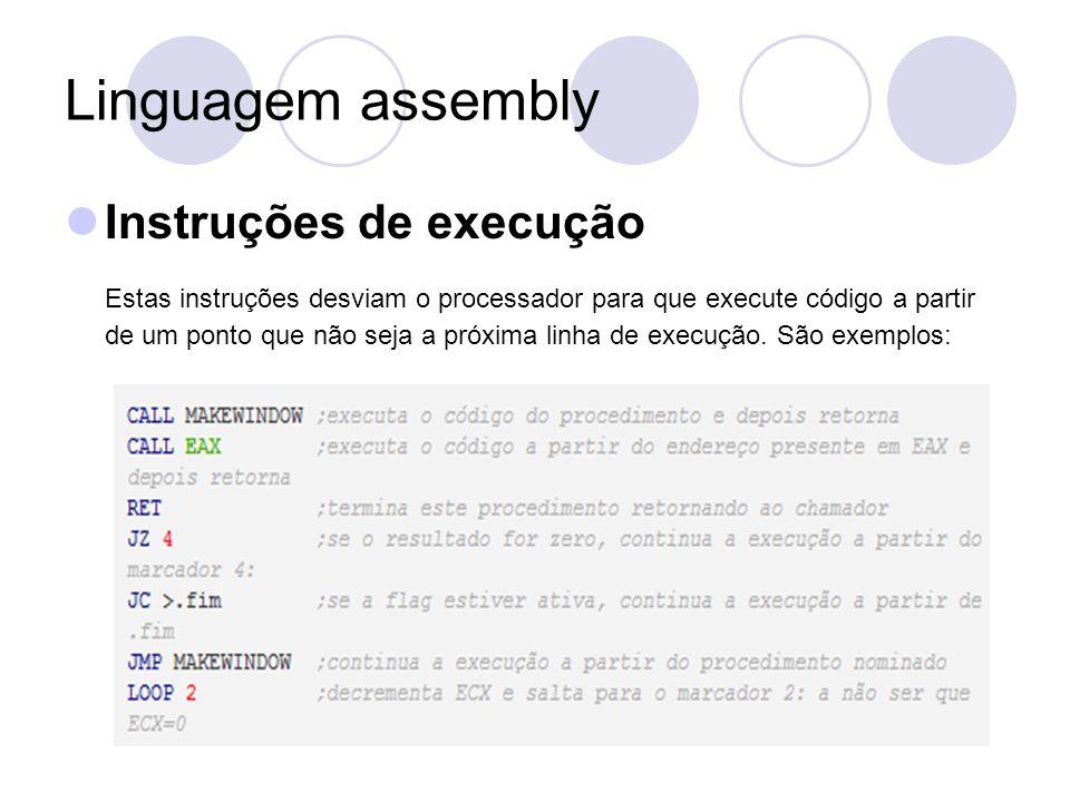Linguagem assembly Instruções de execução Estas instruções desviam o processador para que execute código a partir de um ponto que não seja a próxima linha de execução.