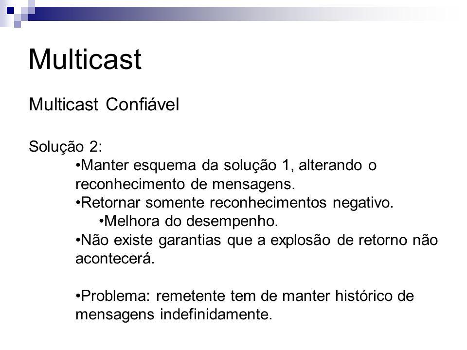 Multicast Multicast Confiável Solução 2: Manter esquema da solução 1, alterando o reconhecimento de mensagens. Retornar somente reconhecimentos negati