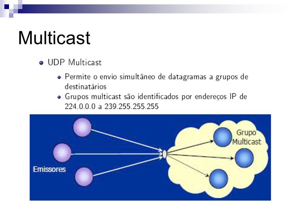 Multicast Multicast Atômico: Como implementar: Duas informações: mensagem M Visão do grupo G Se um elemento do grupo presente na visão G falha e não recebe a mensagem, então todos os membros do grupo ignoram a mensagem (multicast virtualmente síncrono).