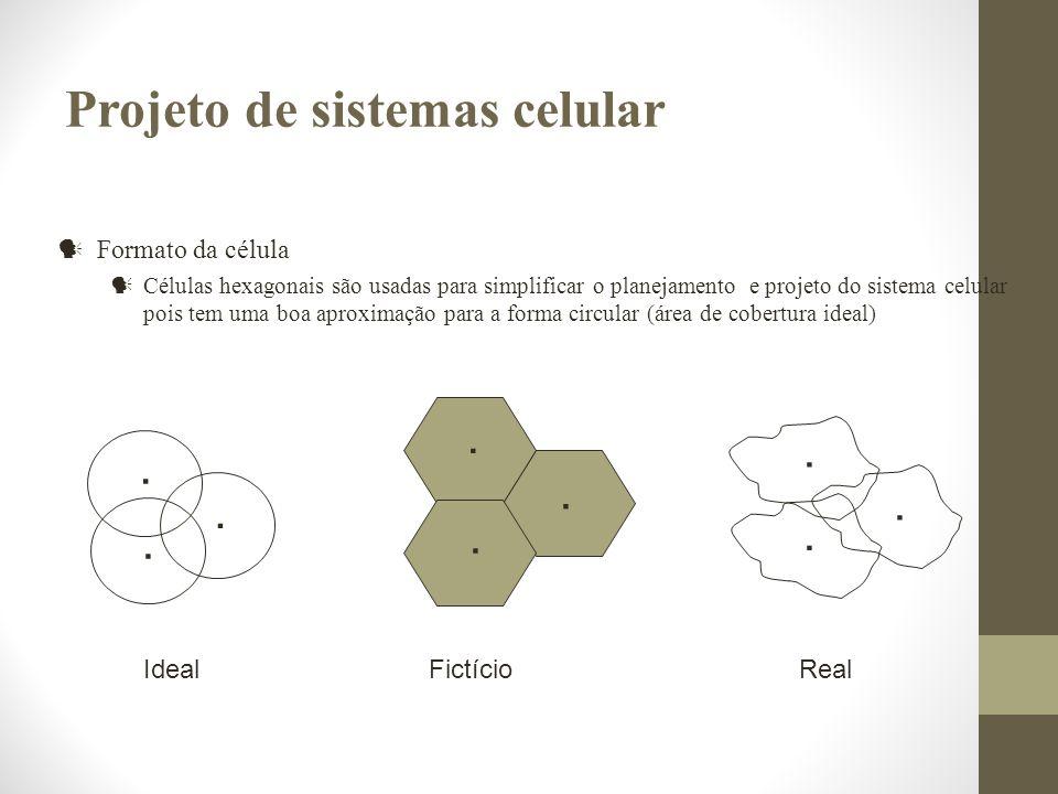 Formato da célula Células hexagonais são usadas para simplificar o planejamento e projeto do sistema celular pois tem uma boa aproximação para a forma