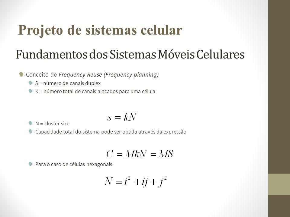 Fundamentos dos Sistemas Móveis Celulares Conceito de Frequency Reuse (Frequency planning) S = número de canais duplex K = número total de canais aloc