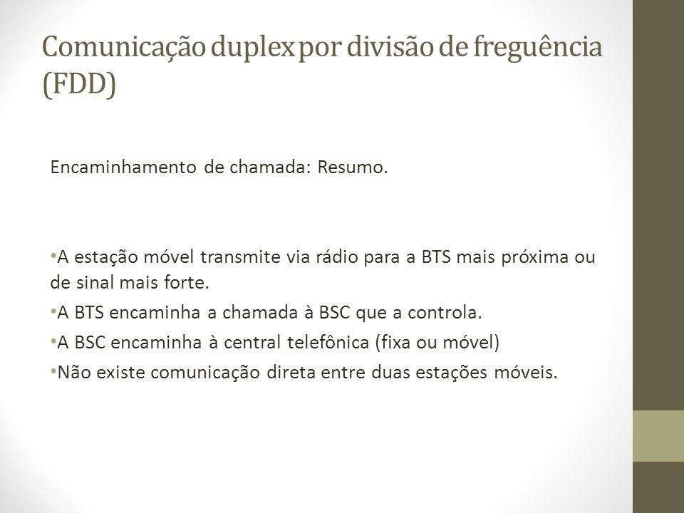 Comunicação duplex por divisão de freguência (FDD) Encaminhamento de chamada: Resumo. A estação móvel transmite via rádio para a BTS mais próxima ou d