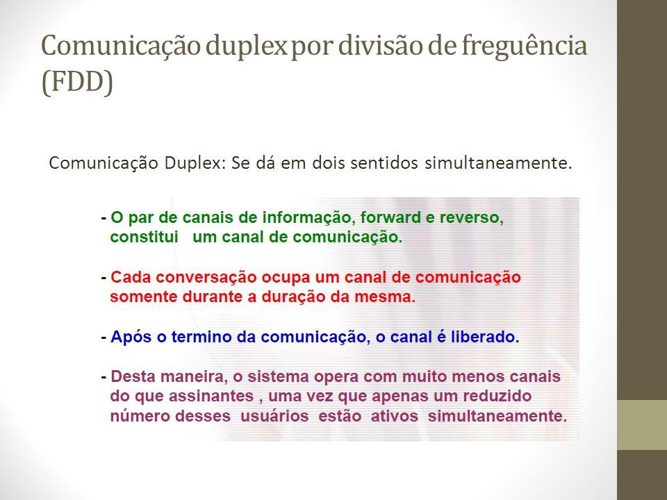 Comunicação duplex por divisão de freguência (FDD) Comunicação Duplex: Se dá em dois sentidos simultaneamente.