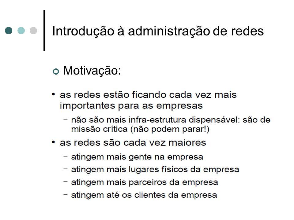 Introdução à administração de redes Ferramentas de gerência de rede:
