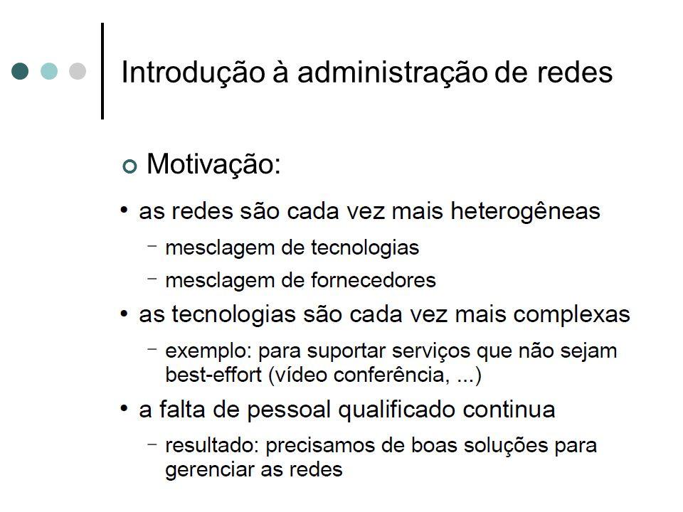 Introdução à administração de redes Sistema de gerência de rede: