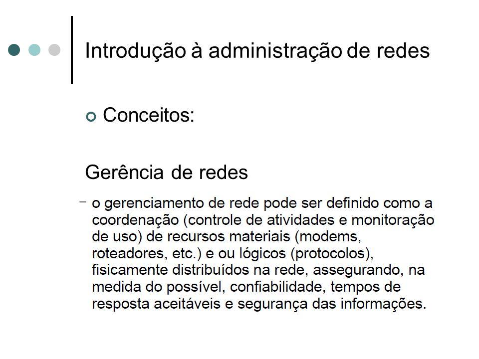 Introdução à administração de redes Objetivos: