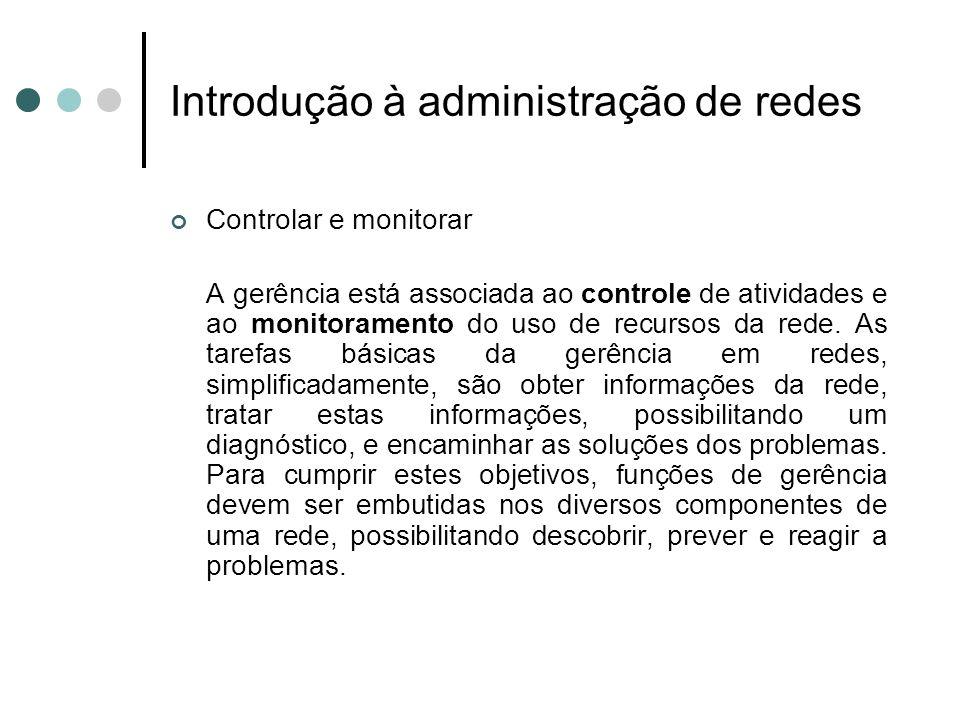 Introdução à administração de redes Funções de gerência de rede: