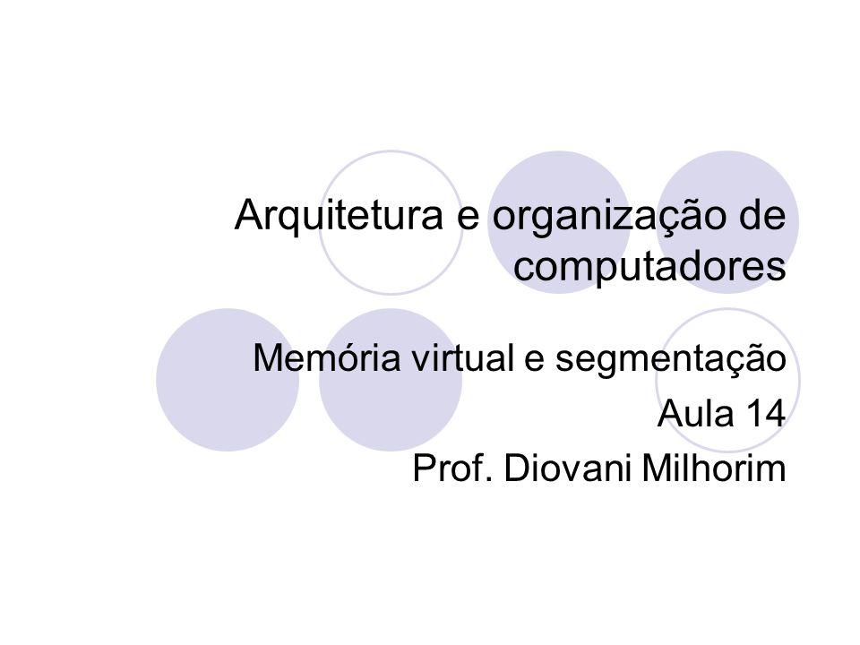 Arquitetura e organização de computadores Memória virtual e segmentação Aula 14 Prof. Diovani Milhorim