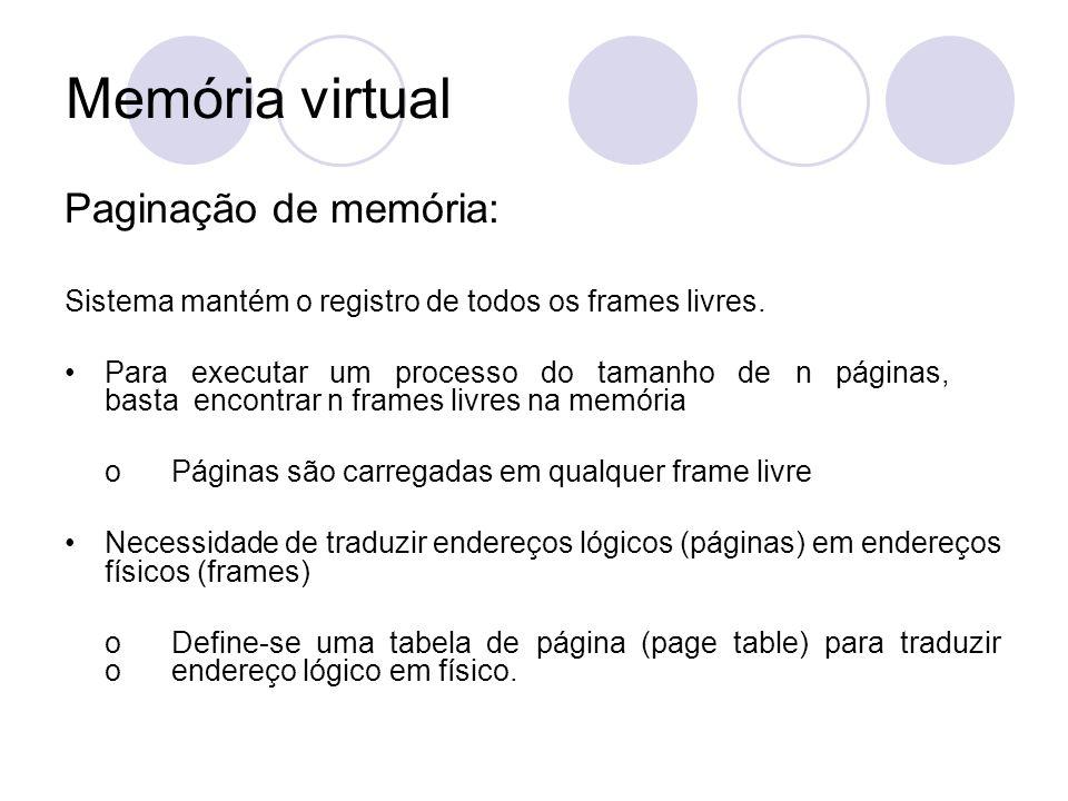 Paginação de memória: Sistema mantém o registro de todos os frames livres. Para executar um processo do tamanho de n páginas, basta encontrar n frames