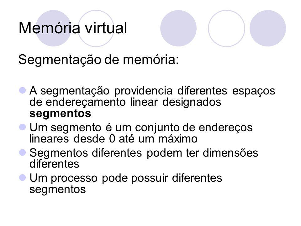 Memória virtual Segmentação de memória: A segmentação providencia diferentes espaços de endereçamento linear designados segmentos Um segmento é um con