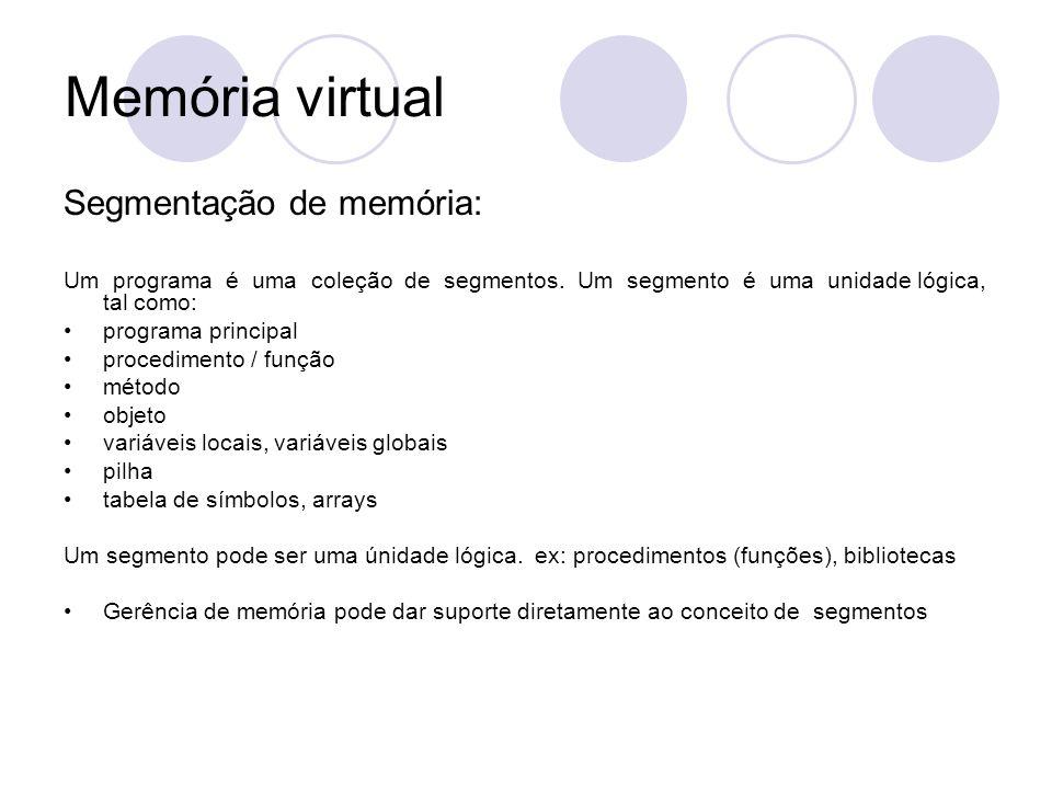 Memória virtual Segmentação de memória: Um programa é uma coleção de segmentos. Um segmento é uma unidade lógica, tal como: programa principal procedi