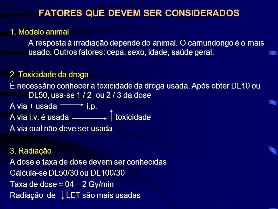 FATORES QUE DEVEM SER CONSIDERADOS 1. Modelo animal A resposta à irradiação depende do animal. O camundongo é o mais usado. Outros fatores: cepa, sexo