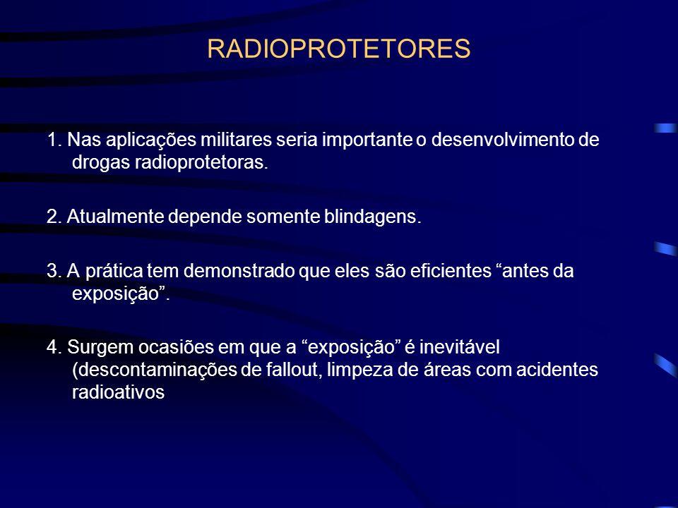 RADIOPROTETORES 1. Nas aplicações militares seria importante o desenvolvimento de drogas radioprotetoras. 2. Atualmente depende somente blindagens. 3.