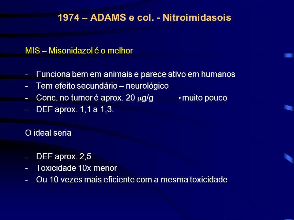 1974 – ADAMS e col. - Nitroimidasois MIS – Misonidazol é o melhor -Funciona bem em animais e parece ativo em humanos -Tem efeito secundário – neurológ