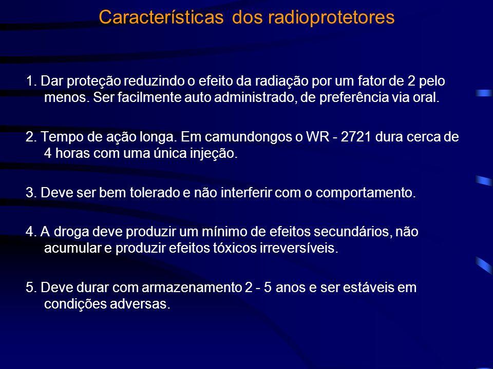 Características dos radioprotetores 1. Dar proteção reduzindo o efeito da radiação por um fator de 2 pelo menos. Ser facilmente auto administrado, de