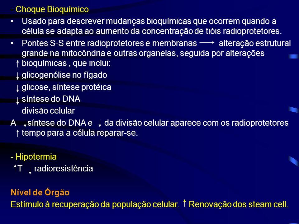 - Choque Bioquímico Usado para descrever mudanças bioquímicas que ocorrem quando a célula se adapta ao aumento da concentração de tióis radioprotetore