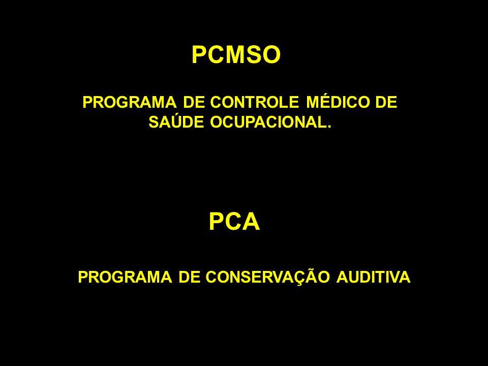 PROGRAMA DE CONTROLE MÉDICO DE SAÚDE OCUPACIONAL. PCMSO PCA PROGRAMA DE CONSERVAÇÃO AUDITIVA