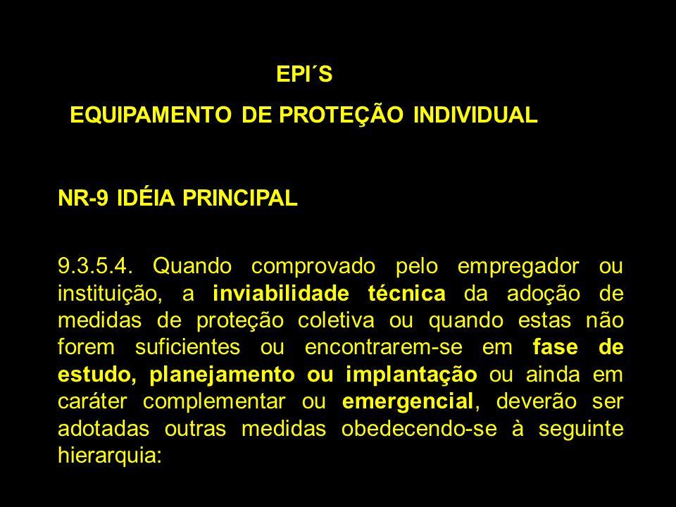 EPI´S EQUIPAMENTO DE PROTEÇÃO INDIVIDUAL NR-9 IDÉIA PRINCIPAL 9.3.5.4. Quando comprovado pelo empregador ou instituição, a inviabilidade técnica da ad