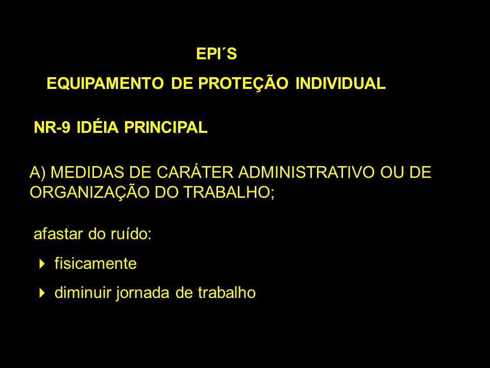 A) MEDIDAS DE CARÁTER ADMINISTRATIVO OU DE ORGANIZAÇÃO DO TRABALHO; EPI´S EQUIPAMENTO DE PROTEÇÃO INDIVIDUAL NR-9 IDÉIA PRINCIPAL afastar do ruído: fi