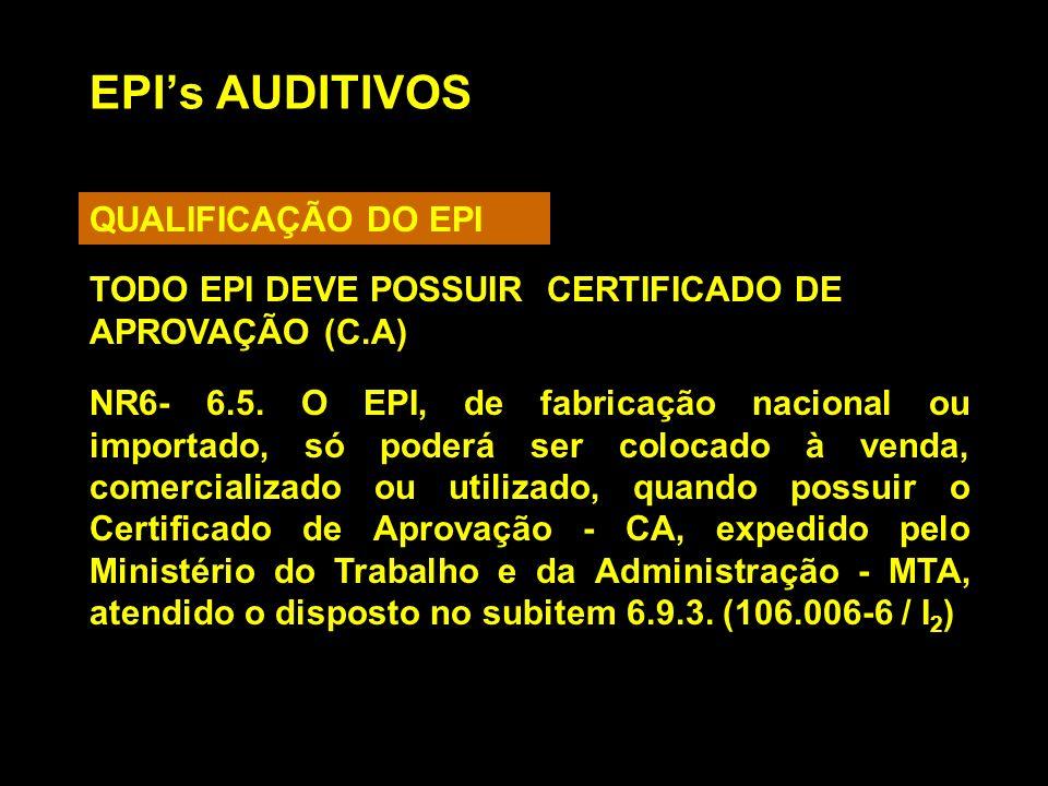 EPIs AUDITIVOS QUALIFICAÇÃO DO EPI NR6- 6.5. O EPI, de fabricação nacional ou importado, só poderá ser colocado à venda, comercializado ou utilizado,